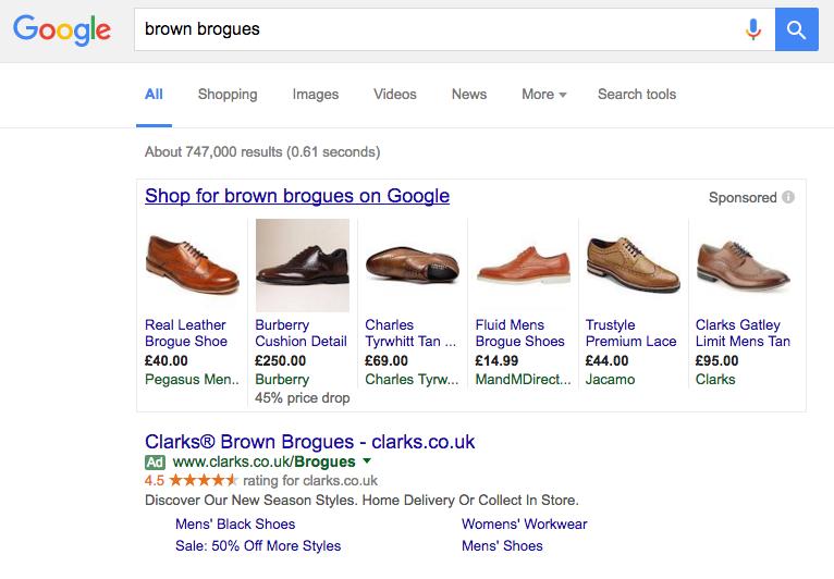 PLA google adwords screen grab